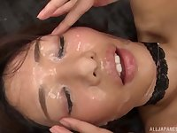 Hardcore gangbang for a Japanese beauty ends with her face cum covered