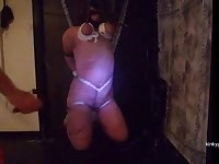 My Slave girl Milou tied to the ceiling and flogged all over her body with the whip.