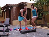 Brunette Vanessa Decker gets pounded on a fitness bench