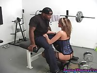 costumed Spring Thomas gets her shaved pussy pounded at the gym