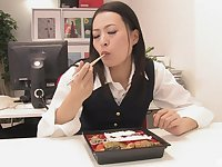 Mai Mizusawa is on her knees giving the best blowjob in the office