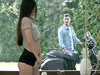 Slender leggy Turkish babe Anya Krey is sucking a big dick and getting her pussy nailed hard