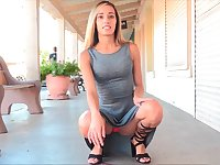Sensual Averie flashing shaved pussy upskirt in public