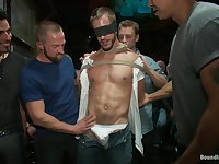 Bound in Public. Naked ripped stud gets humiliated and used in a crowded public bar