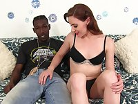 Hot brunette Audrey Holiday spreads her long legs for a black penis