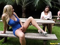 Experienced milf with huge jugs talk teenage girl into her 1st 3some