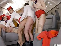 Valentina Nappi, Cassie Del Isla and other flight attendants are having gang hookup in the elementary