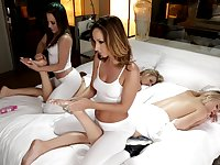 Lesbian foursome with Jada Stevens, Kristina Rose and their girls