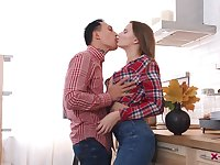 Hardcore couples sex in the kitchen with Marselina Fiore and her man