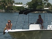 Mature cougar lesbian couple Prinzzess and Anita Dark on a yacht