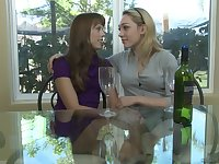 Amber Chase and Lily Labeau take off each others clothes and lick