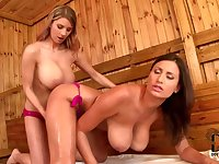 Sultry Babes Big Jugs In Sauna - Sensual Jane and Katerina Hartlova