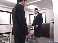Curvy Japanese secretary Kase Kanako rides cock at the office