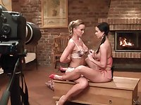Silvia Saint and a pretty pigtailed girl play naughty games