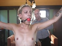 Blonde beauty Sophia Grace tied up and abused with cock in mouth