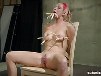 Lesbian goth mistress Twenty abuses her tied up slave Bella Vendetta