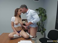 Classroom fuck with petite Marilyn Mansion getting a facial