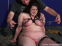 Bbw slave Emmas tit torture and breast caning of fat painslut in rough humiliation and kinky bdsm of chubby dominated amateur submissive