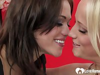 Tempting Lesbians Kiss Before Hot Sex