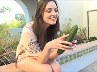 Graceful brunette chick pushes the cucumber into herself with passion
