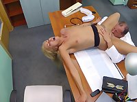Hot blonde licked and fucked by older doctor with huge dick
