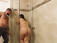Dude is a fan of BBWs and he is fucking a hot one in the shower