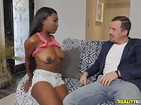 Ebony darling Daya Knight teases and gets fucked by her white boss