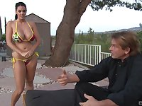 Busty wife Alison Tyler sucks a dick and gets fucked in outdoors