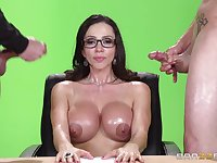 Mature pornstar fucked by two dicks and gets double cum on tits