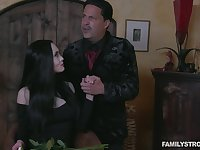 Sexy milf Addams gives a blowjob and gets her pussy licked