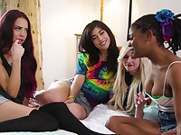 Sabina Rouge invited over her best friends for a lesbian group sex