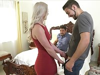 Stunning blonde Kay Carter is having crazy sex fun with two bisexual dudes