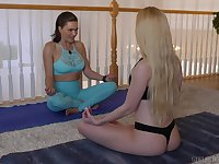 Yoga lesson drives these sensual bitches quite horny