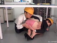 Wild fucking under the table with a sexy Japanese secretary