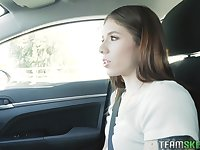 Flirty nympho Isabel Moon is ready for some horny car ride