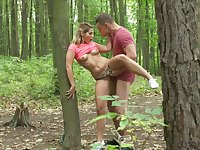 Hard sex in the forest for a young blonde during her walk