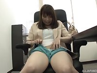 Japanese secretary Mio Ayase spreads her legs to play in the office