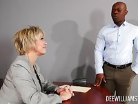 Busty mature rides the thick black dong in smashing office XXX