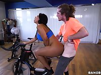 Hot ass model Rose Monroe rides a bike and a dick in the gym